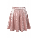 Fashion Women's Zip-Side Plain Mini A-Line Skater Skirt