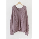 Retro Stylish V-Neck Dropped Long Sleeve Plain Twisted Sweater