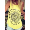 Summer Sleeveless Printed Round Neck Tunic Tank Top