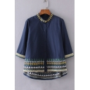 Embroidery Tribal Pattern Stand-Up Collar Single Breasted 3/4 Length Sleeve Shirt
