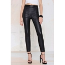 Women's Stylish Zip Back Leather Skinny Leggings