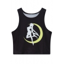 Summer Super Crop Round Neck Sleeveless Moon Girl Print Slim Tank