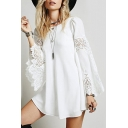 Trendy Bell Long Sleeve Lace Chiffon Patchwork Plain Mini A-Line Dress