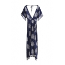 Plunge Neck V-Back Open Back Short Sleeve Porcelain Pattern Gathered Waist Maxi Dress