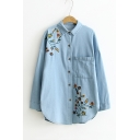 Embroidery Floral Pattern Single Breasted Batwing Sleeve Lapel Denim Shirt Coat with One Pocket