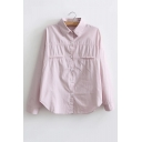 Lapel Collar Long Sleeve Linen OL Style Buttons Down Shirt