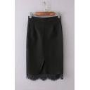 Fashion High Waist Lace Patchwork Plain Mini Bodycon Skirt