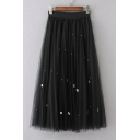 Elastic Waist Handwork Pearl Studded Gauze Puff Midi Skirt