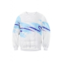 Unisex Color Block Printed Round Neck Long Sleeve Pullover Sweatshirt