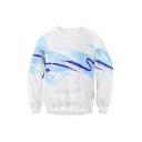 Unisex Color Block Printed Round Neck Long Sleeve Pullover Sweatshirt