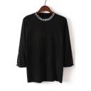 New Fashion Round Neck Half Sleeve Beaded Collar Split Cuff Knit Fit Sweater