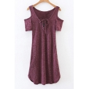 V-Neck Short Sleeve Cold Shoulder Lace-Up Front Asymmetrical Trim Knit Dress