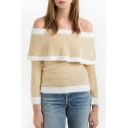 Women's Sweet Off the Shoulder Long Sleeve Color Block Pullover Sweater
