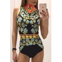 New Fashion High Neck Sleeveless Floral Print Slim Bodysuit