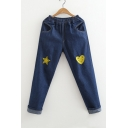 New Fashion Star Embroidered Elastic Waist Straight Leg Denim Pants