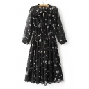 New Stylish Tied Neck Long Sleeve Floral Printed Midi Pleated Dress with One Cami Tank inside
