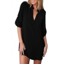 Chic Sexy Plunge V-Neck Long Sleeve Plain Tunic Blouse