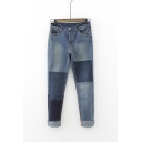 Women's Mid Waist Patchwork Skinny Jeans