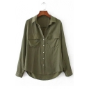 Women's High Low Hem Single Breasted Long Sleeve Lapel Plain Shirt with Chest Pockets