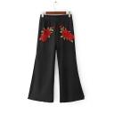 Fashion Embroidery Floral Pattern Split Cuffs Wide Leg Pants