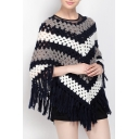 New Fashion Color Block Striped Hollow Out Tassel Trim Knit Cape Sweater