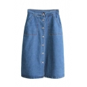 High Waist Single Breasted Plain Denim Skirt with Two Pockets