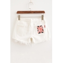 British Flag Printed Back Pocket Low Waist Tassel Denim Shorts