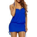 Women's Sexy Halter Plain Detachable Swimwear Top