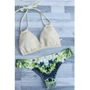 Chic Lace Halter Tied Back Color Block Printed Bottom Bikinis