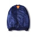 Unisex Zipper Placket Stand-Up Collar Plain Bomber Jacket