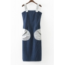 New Stylish Sleeveless Vertical Striped Zip-Back Midi Overall Dress with Zip-Pockets