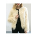 Chic Elegant Long Sleeve Collarless Open-Front Plain Faux Fur Coat