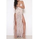 Sexy High Split Sides Spaghetti Straps Sleeveless Sequined Maxi Party Dress