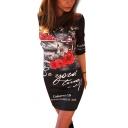 Women's Half Sleeve Floral Letter Printed Color Block Mini Pencil Dress