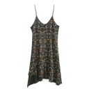 Vintage Spaghetti Straps Sleeveless Floral Printed Asymmetric Hem Midi Dress