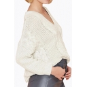Loose V-Neck Dropped Long Sleeve Plain Knitted Sweater