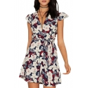 Sexy Plunge V-Neck Short Sleeve Belt Waist Floral Printed Mini A-Line Dress
