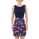 OL Stylish Floral Printed Patchwork Sleeveless Round Neck Mini A-Line Dress