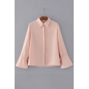 Basic Plain Lapel Collar Long Sleeve Flared Sleeve Buttons Down Shirt