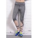 New Stylish Tied Cuffs Yoga Sport Plain Cropped Pants