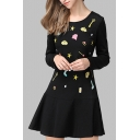 Chic Embroidery Pattern Long Sleeve Round Neck Zip-Back Mini Skater Dress