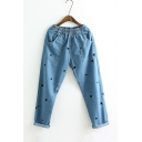 Elastic Waist Embroidery Heart Shape Polka Dots Pattern Basic Jeans