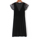 Chic Sheer Lace Patchwork Short Sleeve Round Neck Plain Midi Velvet A-Line Dress