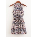 New Fashion Sleeveless Geometric Printed Color Block Mini A-Line Summer Dress with Belt