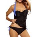 Women's Bandeau Contrast Halter Tankinis Swimwear