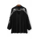 Cutout V-Neck Lantern Long Sleeve Embroidery Pattern Tunic Blouse
