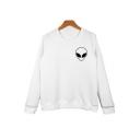 Alien Cartoon Printed Round Neck Long Sleeve Pullover Sweatshirt