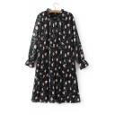 Stand-Up Collar Long Sleeve Floral Print Gathered Waist Sashes Mini Dress
