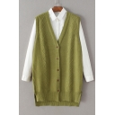 High Low Hem Single Breasted V-Neck Sleeveless Rhombus Crochet Knitted Cardigan Vest