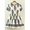 Printed Color Block V-Neck Short Sleeve Mini A-Line Summer Dress